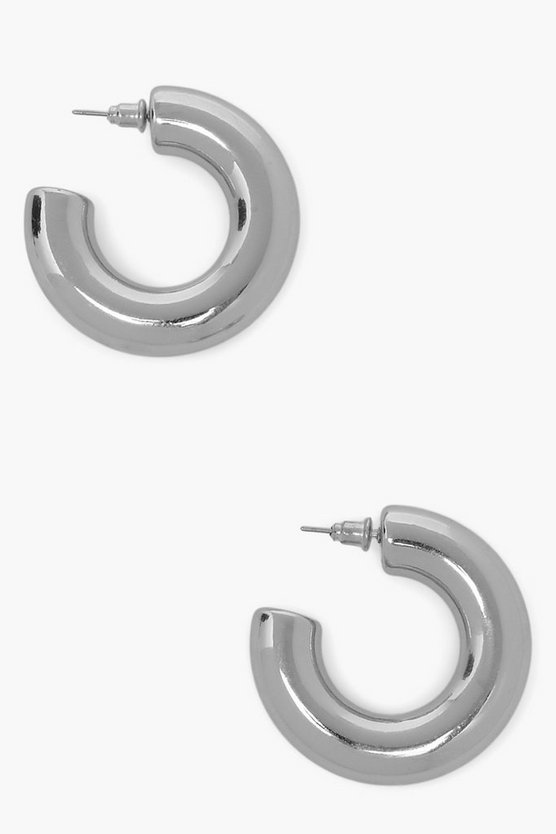 Womens Extra Chunky Shine Hoop Earrings - Silver - One Size