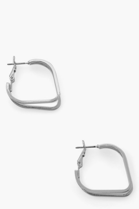 Womens Angled Hoop Earrings - Silver - One Size