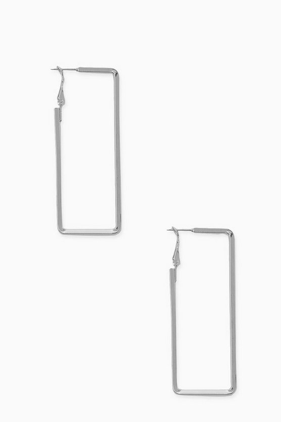 Womens Rectangle Smooth Hoop Earrings - Silver - One Size