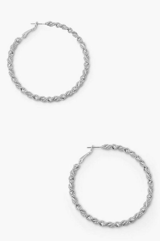 Womens Wrapped Twisted Hoop Earrings - Silver - One Size
