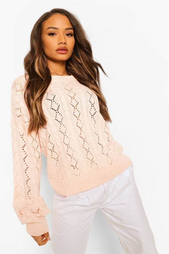 Womens Pullover Mit Ajour-Muster - Rosa - Xs
