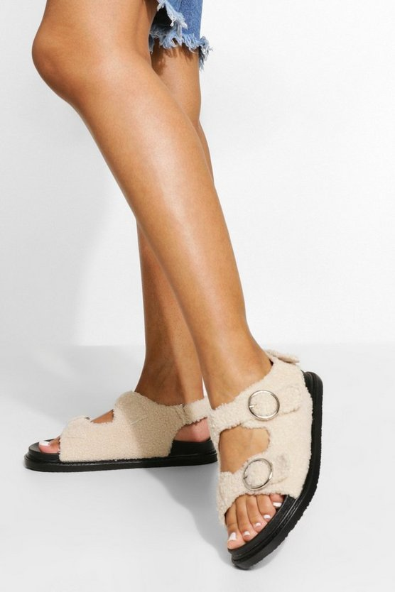 Womens Borg Sporty Dad Sandal - Natural - 41
