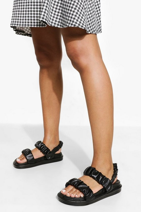 Womens Ruched Sporty Dad Sandal - Black - 40