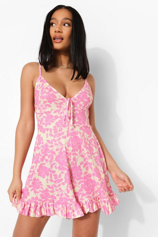 Womens Floral Tie Detail Frill Edge Playsuit - Pink - 40