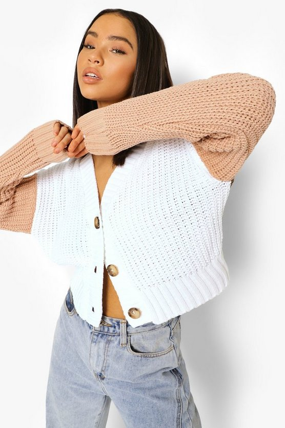 Womens Soft Knit Colour Block Cardigan - Stone - M
