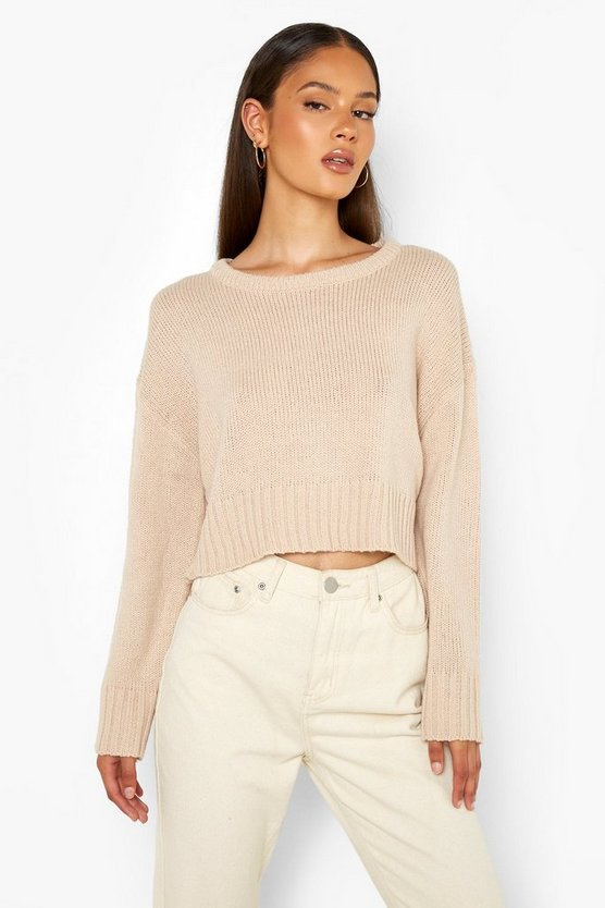 Womens Kurzer Pullover - Taupe - M