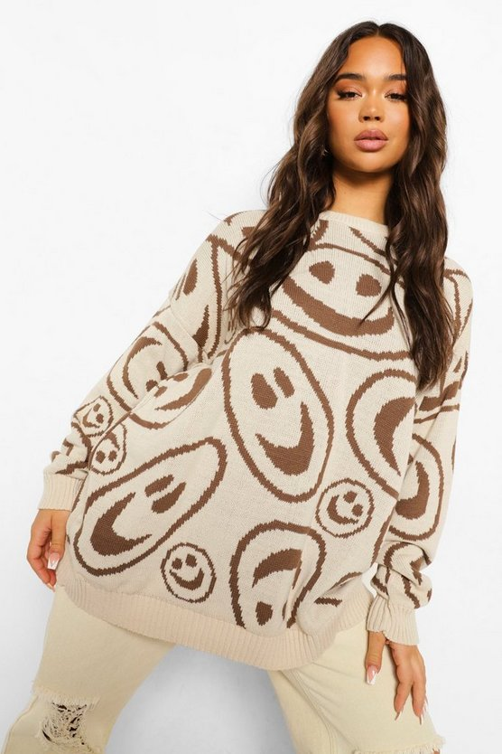 Womens Face Graphic Oversized Jumper - Stone - M