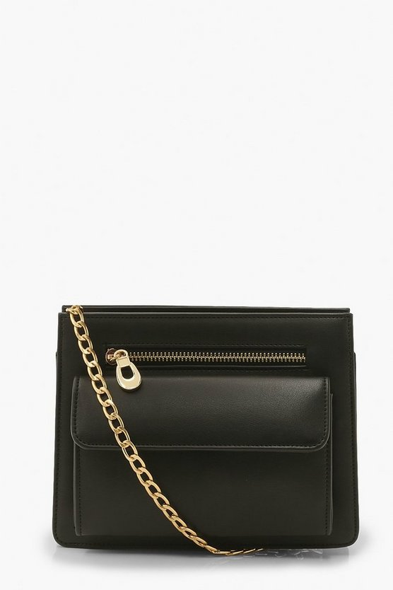 Womens Front Pocket Cross Body Chain Bag - Black - One Size