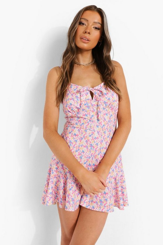 Womens Floral Tie Front Flippy Playsuit - Pink - 42