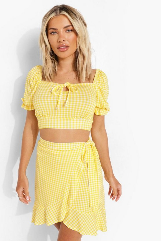 Womens Gingham Rock Co-Ord Mit Rüschendetail - Yellow - 42
