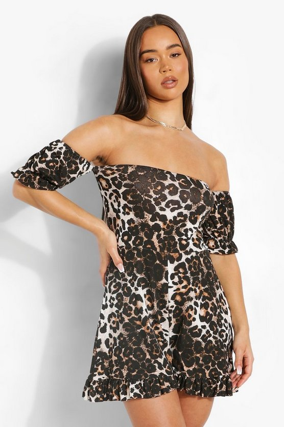 Womens Leopard Print Off The Shoulder Playsuit - Brown - 42