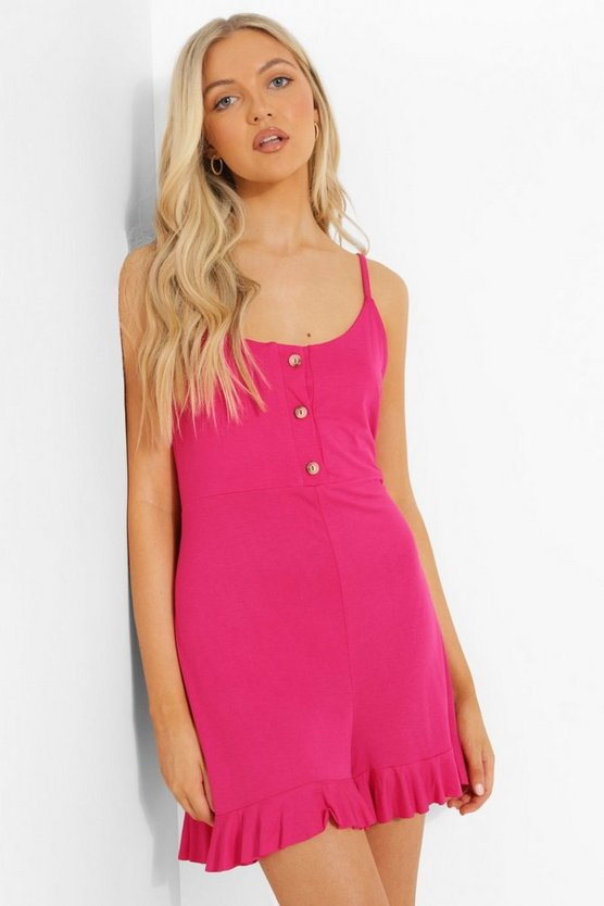 Womens Button Up Strappy Smock Playsuit - Hot Pink - 42