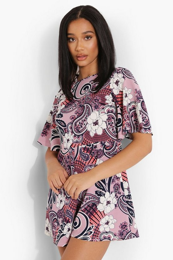 Womens Paisley Print Opend Back Playsuit - Pink - 42