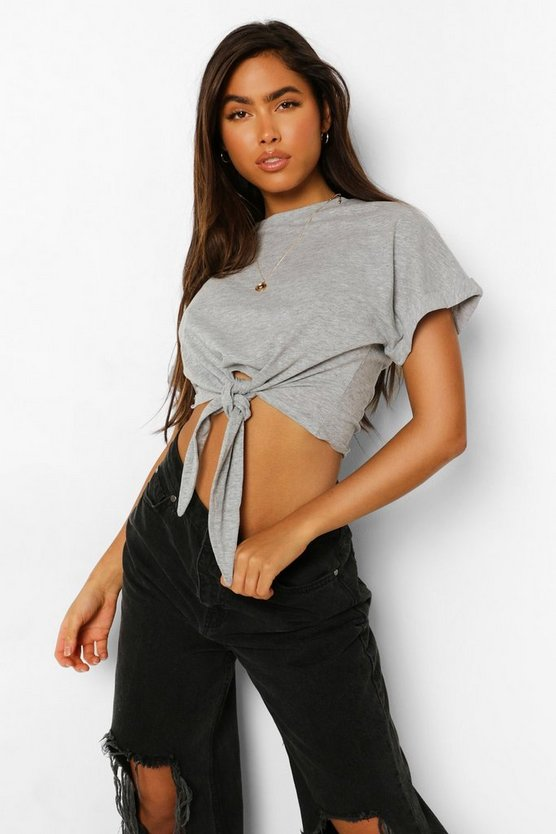 Womens Knot Front Oversized T Shirt - Grey Marl - S