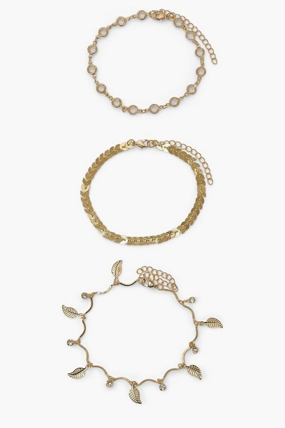 Womens 3 Pack Charm Anklet Set - Gold - One Size