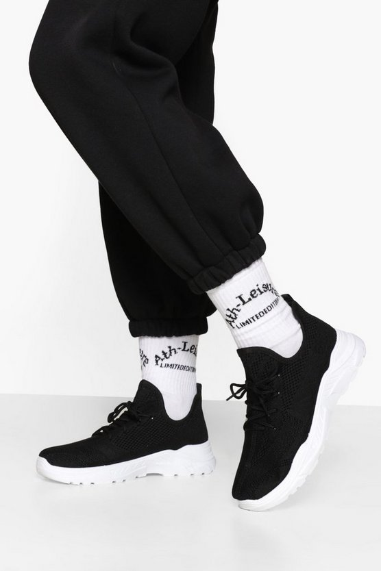 Womens Lace Up Knitted Sports Trainers - Blackwhite - 38