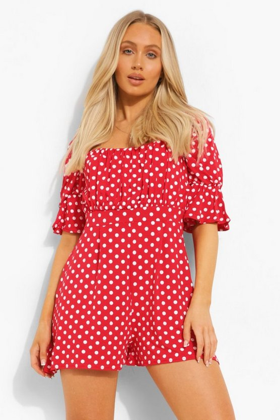 Womens Polka Dot Square Neck Flippy Playsuit - Red - 40