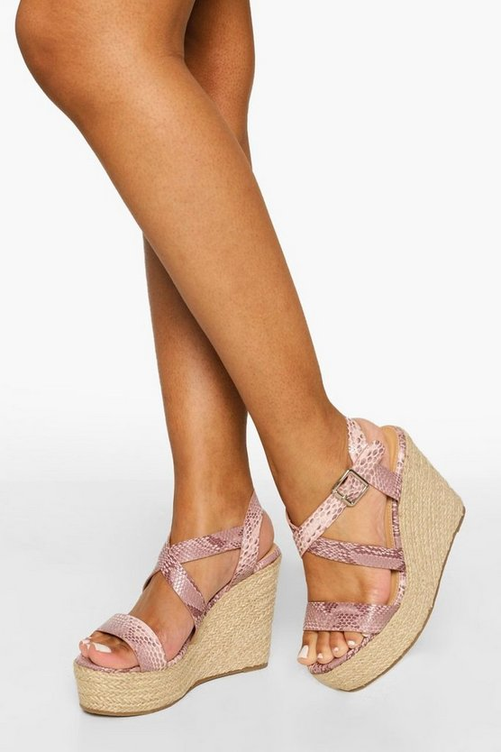 Womens Crossover Snake Buckle Wedge - Blush - 41