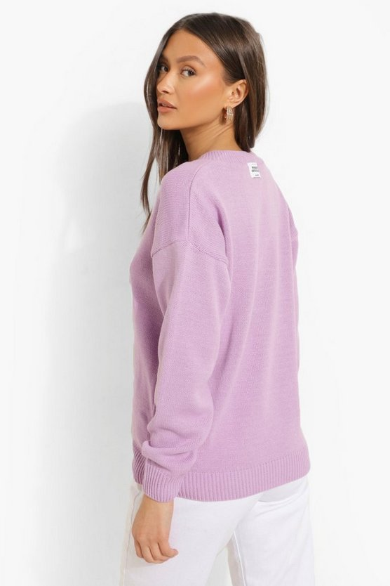 Womens Official V Neck Jumper - Lilac - M