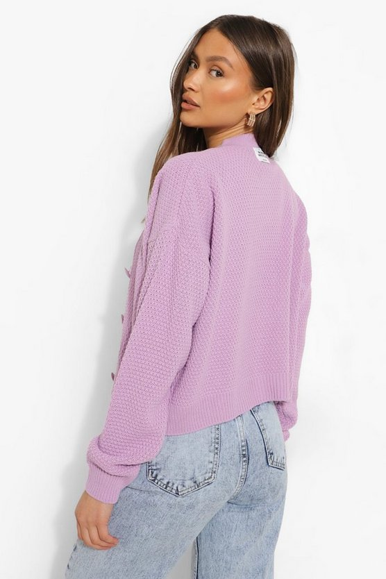 Womens Official Knitted Cropped Cardigan - Lilac - L