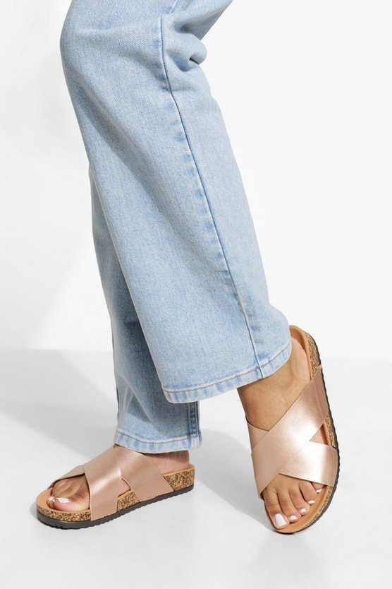 Womens Wide Fit Metallic Cross Over Footbed Sandal - Rose Gold - 40