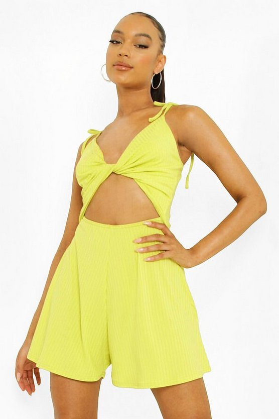 Womens Gerippter Cut-Out Playsuit - Lime - 36