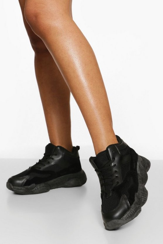 Womens Wide Fit Chunky High Top Trainer - Black - 41