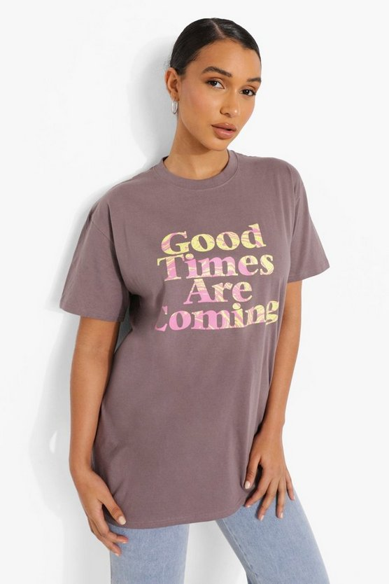 Womens Printed Oversized T-Shirt - Charcoal - M