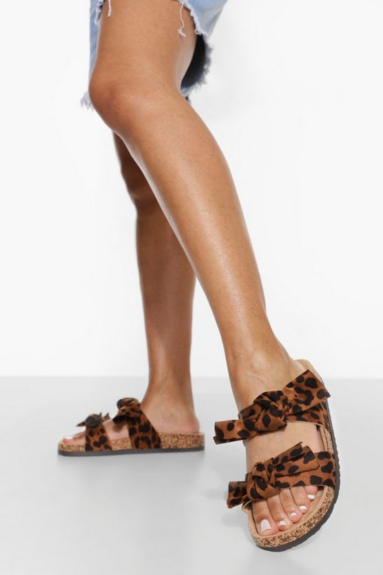 Womens Leopard Double Bow Slider - 40