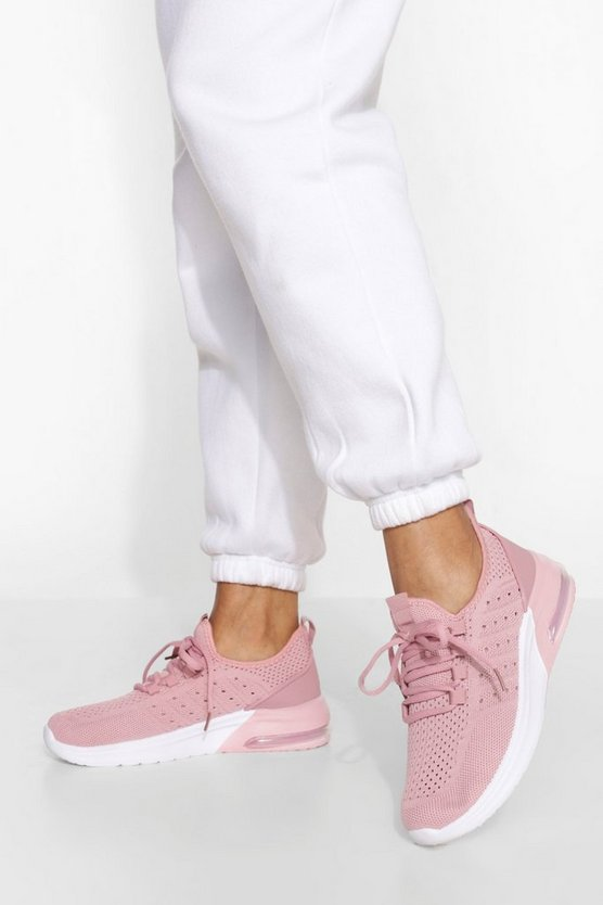 Womens Contrast Sole Knitted Sports Trainer - Pink - 41
