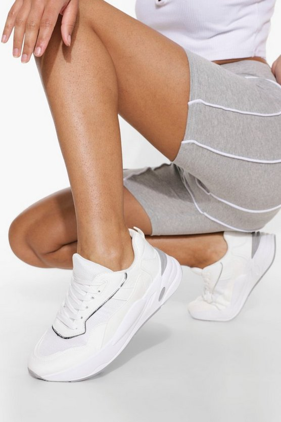 Womens Chunky Contrast Trainer - White - 40