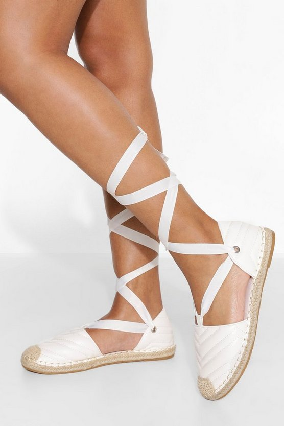Womens Quilted Wrap Up Espadrille - White - 41