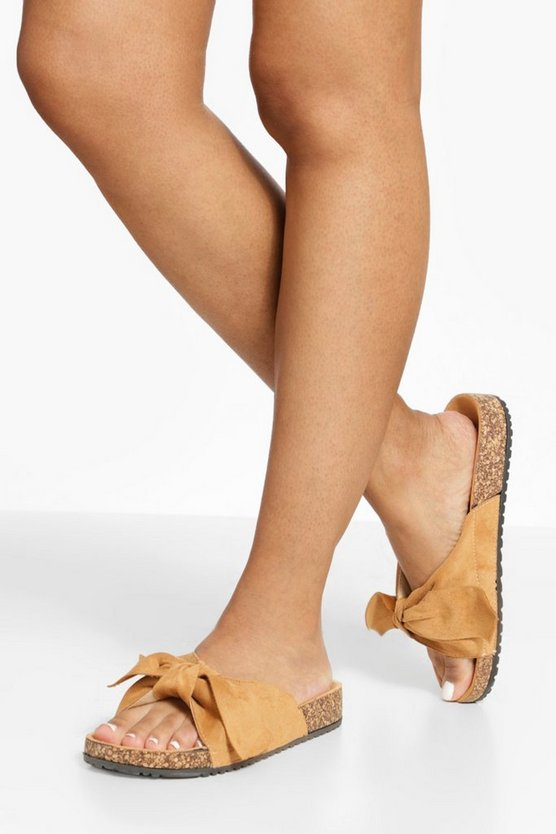 Womens Suede Bow Detail Sandals - Tobacco - 41
