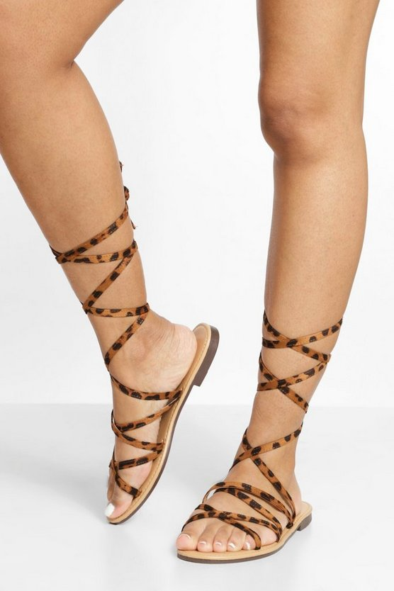 Womens Strappy Wrap Up Sandal - Leopard - 41