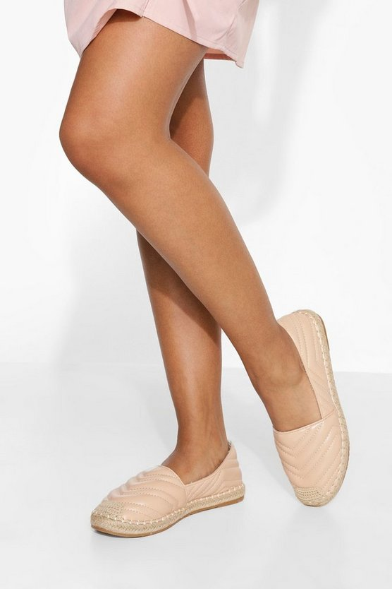 Womens Quilted Espadrille - Nude - 41