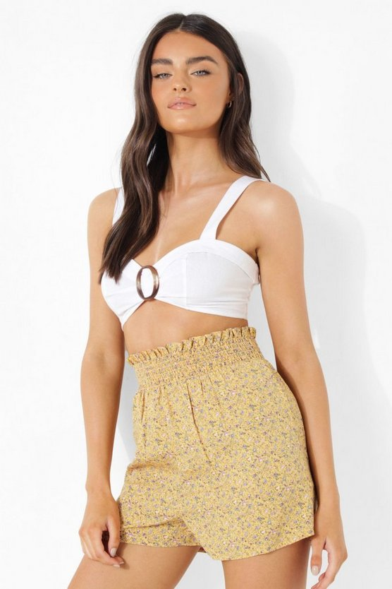 Womens Florale Shorts - Yellow - 40