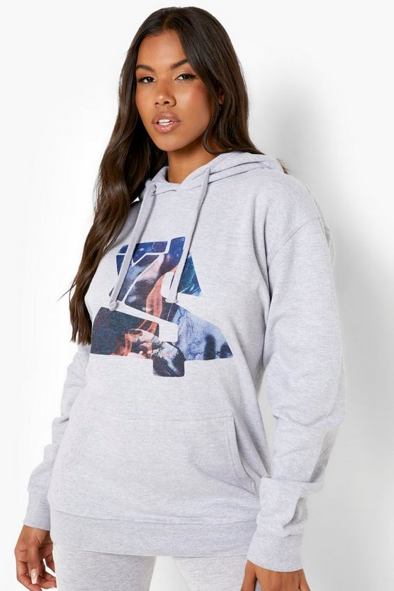 Womens Oversize Hoodie Mit Ty Dolla Sign Print - Grey Marl - M