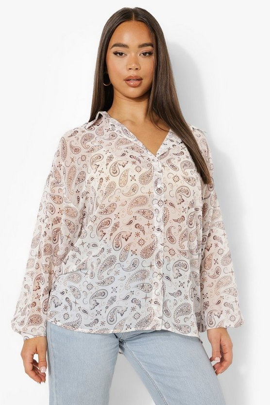 Womens Oversize Hemd Mit Paisely-Print - Brown - 38
