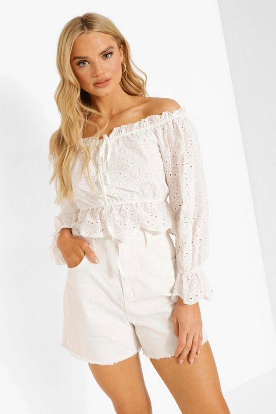 Womens Broderie Off-Shoulder Crop Top - White - 42
