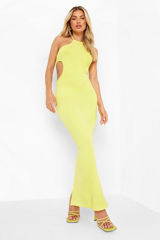 Womens Racer-Maxikleid Mit Cut-Out - Yellow - 44