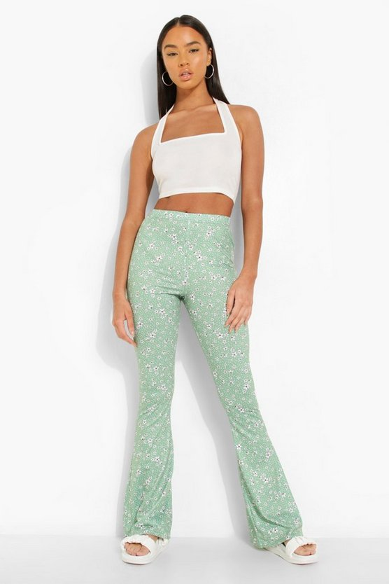 Womens Florale Schlaghose - Green - 42