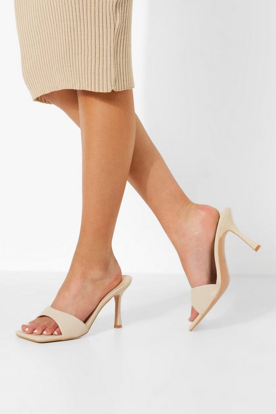 Womens Eckige Mules - Off White - 41
