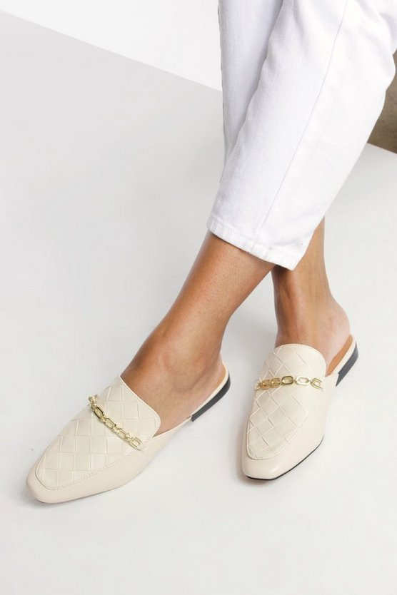 Womens Loafer Mules Mit Detail - Nude - 36
