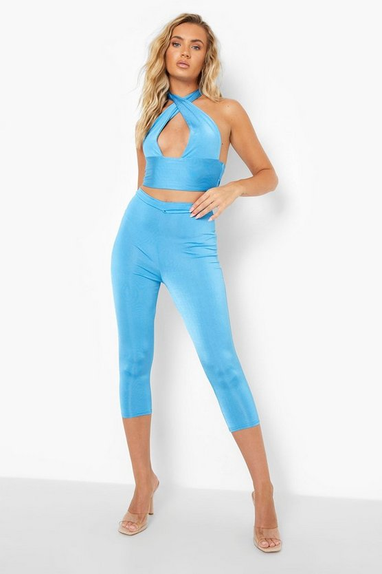 Womens Recyceltes Leggings Co-Ord Mit Taillen-Detail - Blue - 34