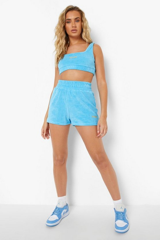 Womens Official Frottee Crop Top Und Shorts - Blue - 34