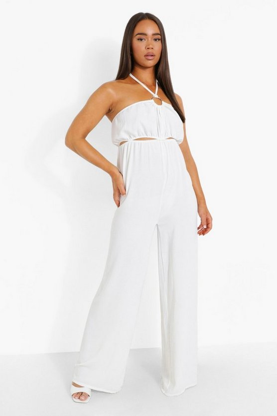 Womens Jumpsuit Mit O-Ring Detail - White - 38