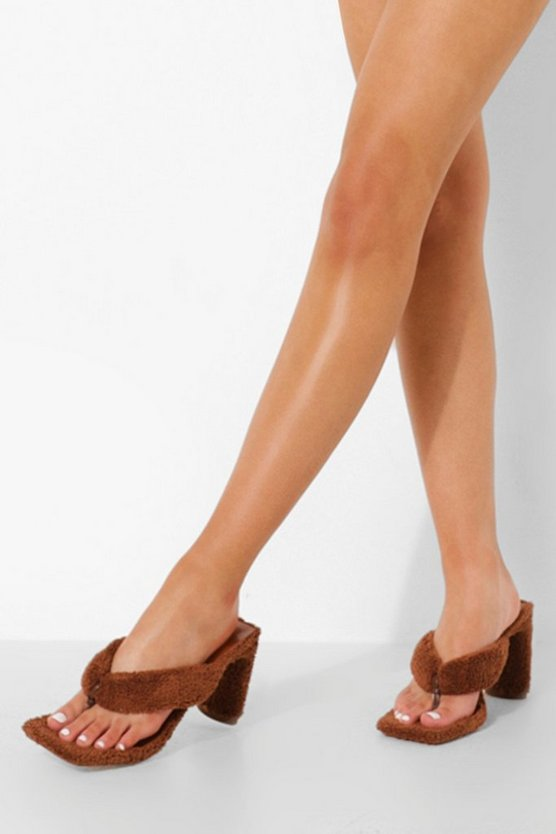 Womens Frottee Mules - Chocolate - 40