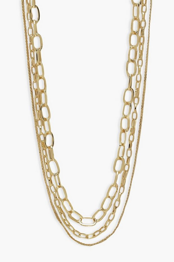 Womens 3-Lagige Halskette - Gold - One Size