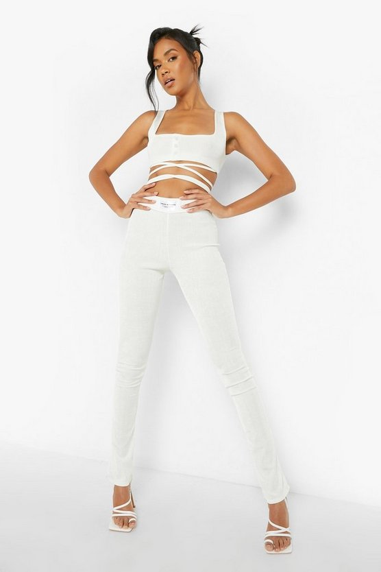 Womens Madison Beer Recycetes Crop Top Mit Taillenband Und Leggings - Off White - 42