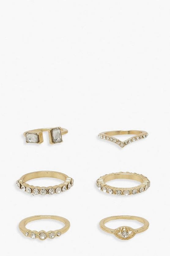 Womens 6Er-Pack Ring-Set Mit Strass - Gold - One Size